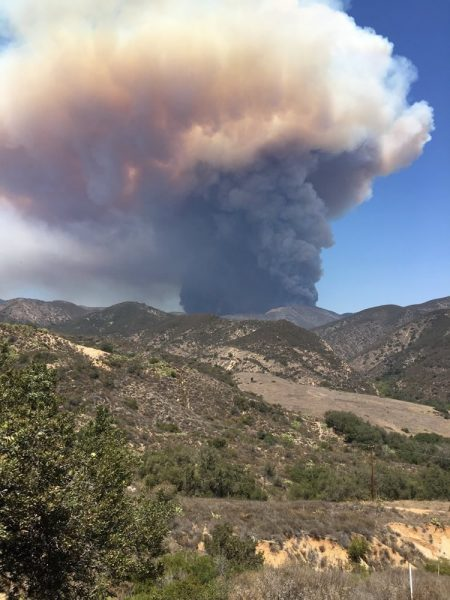 Smoke from the Holy Jim fire in Trabuco Canyon could be seen from across Orange County on Monday, Aug. 6. Photo: Courtesy of Cleveland National Forest