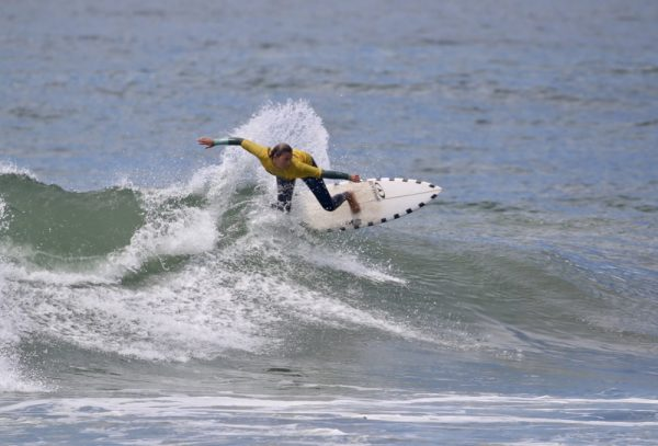 Laguna's Tess Booth competes as part of the Laguna Beach High School's women's shortboard team last April in Oceanside.