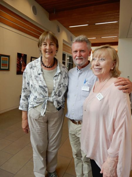 """Left to right: Resident Ann Christoph, new Gallery Q art director, Bill Atkins, and Gallery Q co-arts director, Tineke Van Der Vliet, attend a """"LOCA@25"""" artist reception at Gallery Q. Photo courtesy of Gallery Q."""