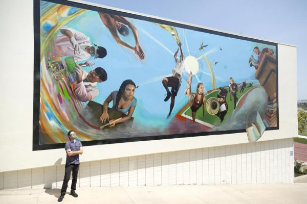 LCAD alumnus and faculty member Timothy Robert Smith recently completed two murals at LCAD and Laguna Beach High School. Photo courtesy of Carol Covarrubias/LCAD