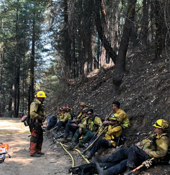 Laguna firefighters take a brief break from their 24-hour nonstop shifts. Photo courtesy of Laguna Beach Fire Department