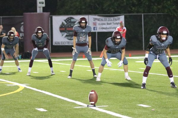 Lining up for the kickoff with Big Bear, (from left) #11 Curran Hendricksen, #3 Dominic Calabrese, #16 Trevor Tyler, #45 Noah Haymond and #30 Nick Joseph. Photo by Lisa Fields